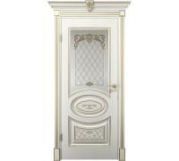 Межкомнатная дверь Веллдорис ВИТЕЛИЯ остекленная Белое дерево+патина золото