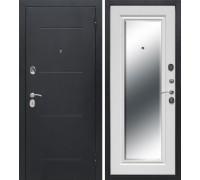 Входная дверь Феррони Гарда 7,5 см Серебро Зеркало фацет Белый ясень